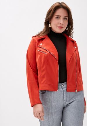 Куртка кожаная Vero Moda Curve. Цвет: красный