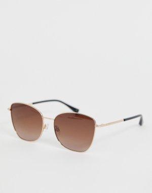 Коричневые солнцезащитные очки в квадратной оправе Ted Baker. Цвет: коричневый