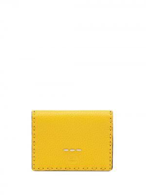 Складной бумажник с логотипом Fendi. Цвет: желтый
