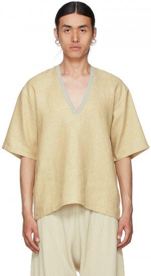 Yellow Linen V-Neck T-Shirt Bless. Цвет: pastmelange