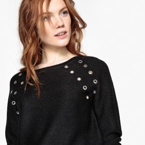 Пуловер с круглым вырезом отделкой люверсами LPB WOMAN. Цвет: черный