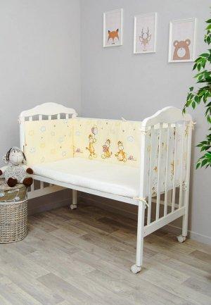Бортик для детской кровати Сонный Гномик Жирафик. Цвет: желтый