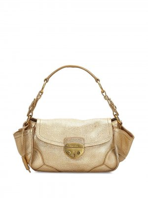 Мини-сумка с логотипом Prada Pre-Owned. Цвет: золотистый