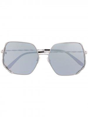 Солнцезащитные очки в шестиугольной оправе Elie Saab. Цвет: серебристый