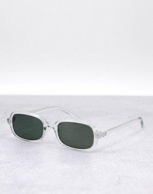 Узкие прямоугольные солнцезащитные очки в серой оправе с зелеными линзами стиле ретро -Серый ASOS DESIGN