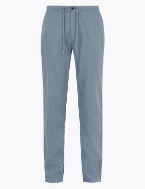 Классические льняные брюки M&S Collection. Цвет: светлый синий