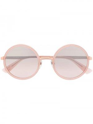Солнцезащитные очки в круглой оправе Diesel. Цвет: розовый