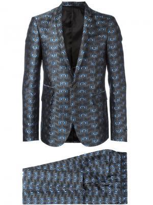 Жаккардовый вечерний костюм Les Hommes. Цвет: серый