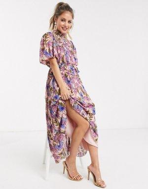 Розовое плиссированное платье мидакси с цветочным принтом -Мульти Forever U