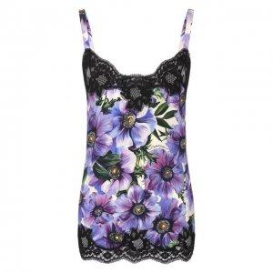 Шелковая майка Dolce & Gabbana. Цвет: фиолетовый