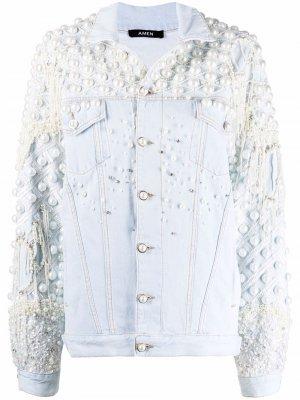 Джинсовая куртка с искусственным жемчугом Amen. Цвет: синий