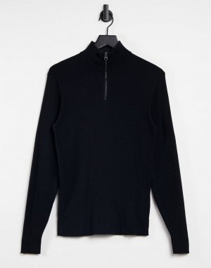Черный джемпер с короткой молнией -Черный цвет Esprit