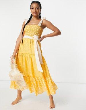 Присборенное пляжное платье миди оранжевого цвета в горошек -Оранжевый цвет River Island
