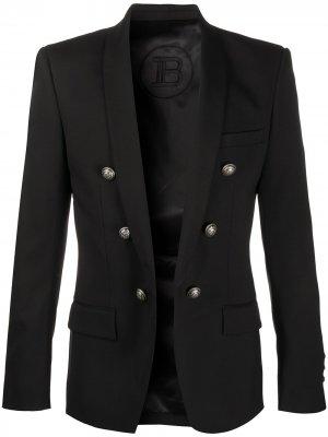 Пиджак с тиснеными пуговицами Balmain. Цвет: черный