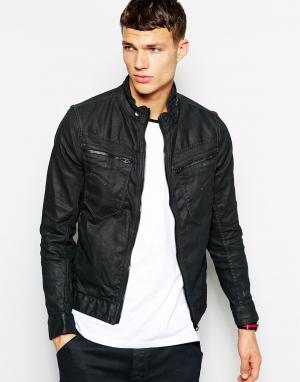 Темная состаренная узкая джинсовая куртка с молнией G Star New Riley 3d G-Star. Цвет: 3d dark aged