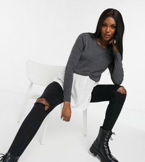 Серый джемпер «два в одном» с имитацией рубашки New Look Maternity