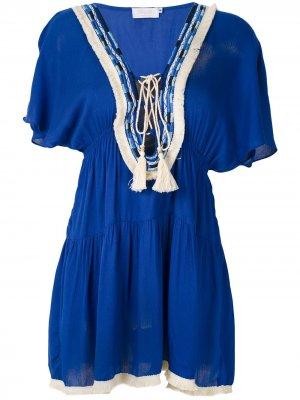 Ярусное короткое платье Brigitte. Цвет: синий