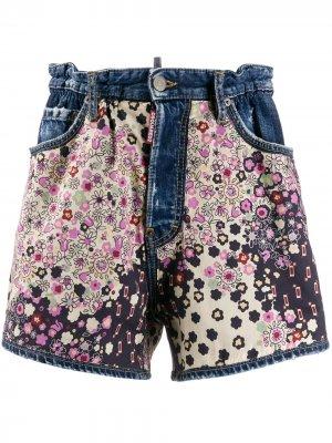 Джинсовые шорты с цветочным принтом Dsquared2. Цвет: синий