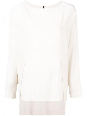 Асимметричная блузка Pierantoniogaspari. Цвет: нейтральные цвета