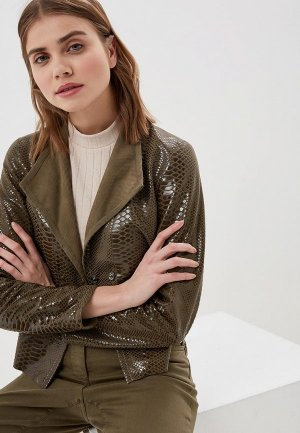Куртка кожаная Madeleine. Цвет: хаки