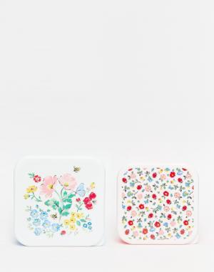 Набор из 2 коробок для ланча с принтом Cath Kidston. Цвет: белый