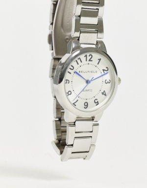 Женские серебристые часы с белым циферблатом -Серебристый Bellfield