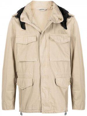 Куртка в стиле милитари с потайным капюшоном Aspesi. Цвет: нейтральные цвета