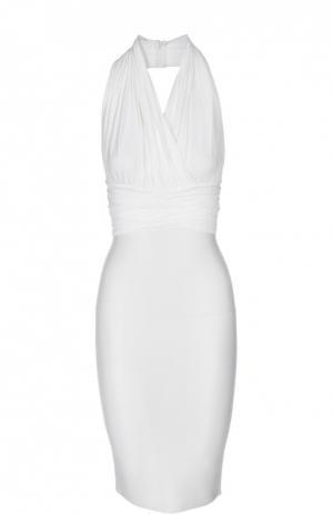 Платье-футляр на одной лямке с открытой спиной Herve L.Leroux. Цвет: белый