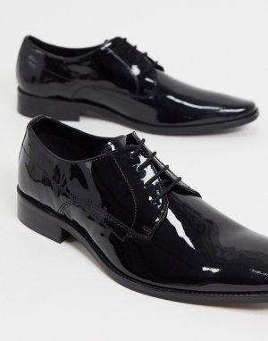Черные туфли на шнуровке из лакированной кожи -Черный Dune