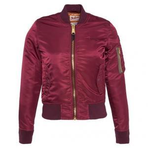Куртка-бомбер сатиновый SCHOTT. Цвет: бордовый,темно-синий