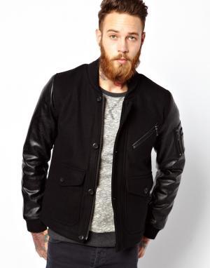 Куртка-пилот с рукавами в кожаном стиле ASOS. Цвет: черный