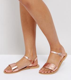 Кожаные сандалии для широкой стопы ASOS FLIQUEY DESIGN. Цвет: бежевый