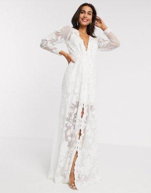 Свадебное платье с пышными рукавами и вышивкой -Белый ASOS EDITION