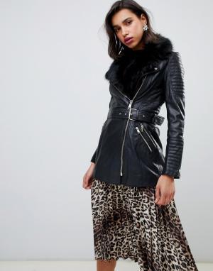 Черная кожаная куртка с меховой отделкой River Island. Цвет: черный