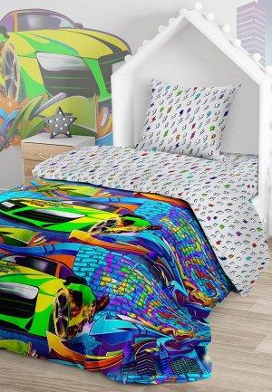 Постельное белье 1,5-спальное Juno Неоновая машина. Цвет: разноцветный