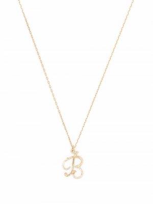 Колье Enchanted Twig Alphabet B из желтого золота Alex Monroe. Цвет: золотистый