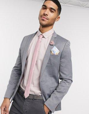 Серый супероблегающий пиджак с добавлением шерсти wedding-Бежевый ASOS DESIGN