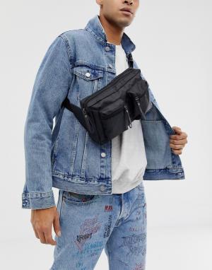 Черная массивная сумка-кошелек на пояс с молнией -Черный 7X