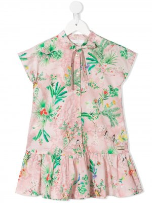 Платье с цветочным принтом Alviero Martini Kids. Цвет: розовый