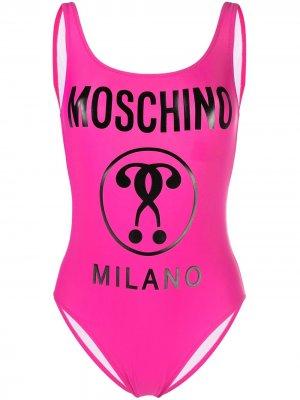 Купальник с открытой спиной и логотипом Moschino. Цвет: розовый