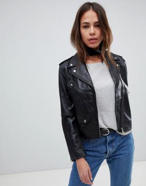 Свободная кожаная мотоциклетная куртка Levis-Черный Levi's