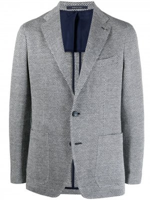 Пиджак с узором в елочку Tagliatore. Цвет: синий