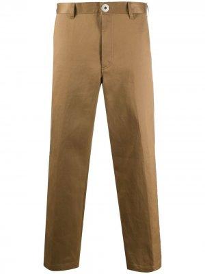 Прямые брюки средней посадки LANVIN. Цвет: коричневый
