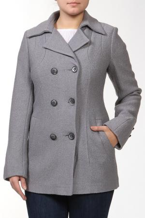 Пальто L-Design. Цвет: серый