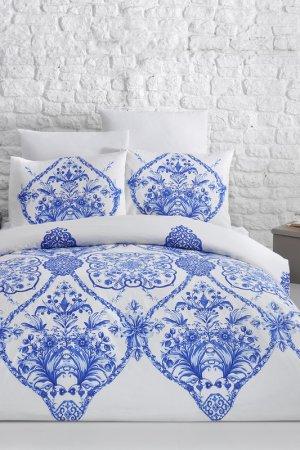 Постельное белье Евро Arya home collection. Цвет: бело-синий