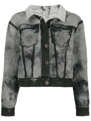 Джинсовая куртка с эффектом вывернутой наизнанку Unravel Project. Цвет: черный