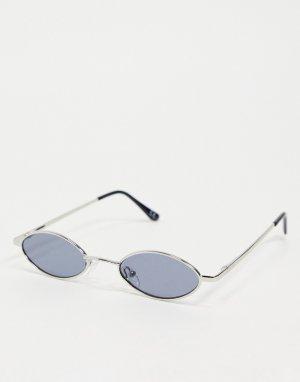 Солнцезащитные очки в небольшой овальной оправе серебристого цвета с затемненными линзами стиле 90-х -Серебристый ASOS DESIGN