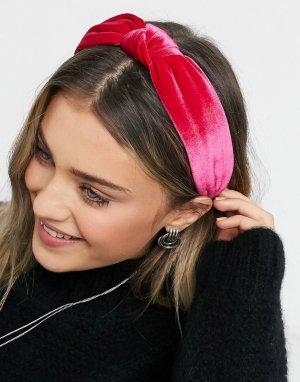 Бархатный ободок на голову цвета розовая фуксия с узлом -Розовый цвет ASOS DESIGN