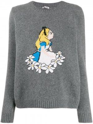 Джемпер Alice in Wonderland вязки интарсия Miu. Цвет: серый