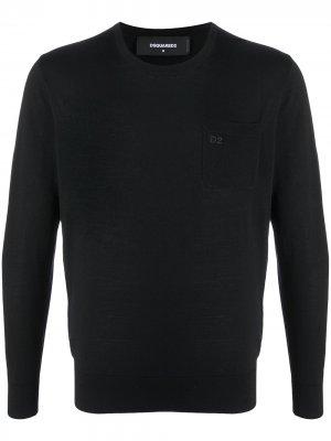 Пуловер с логотипом Dsquared2. Цвет: черный